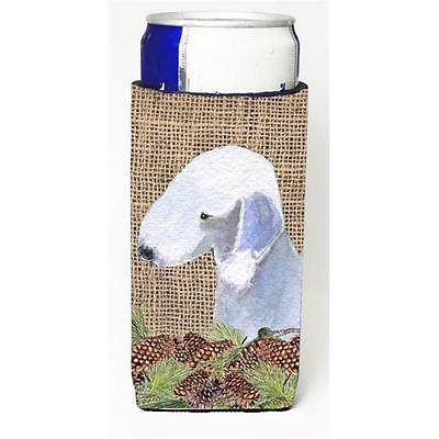 Bedlington Terrier On Faux Burlap With Pine Cones Michelob Ultra bottle sleev...