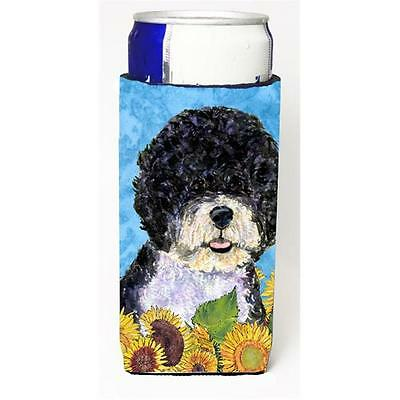 Portuguese Water Dog In Summer Flowers Michelob Ultra bottle sleeves For Slim...