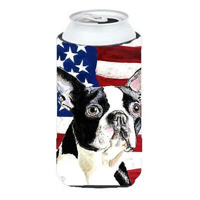 USA American Flag With Boston Terrier Tall Boy bottle sleeve Hugger 22 To 24 oz.