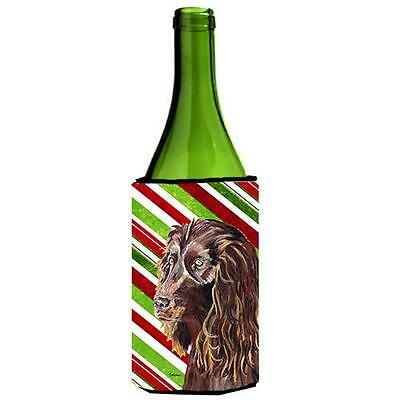 Boykin Spaniel Candy Cane Christmas Wine bottle sleeve Hugger 24 oz.