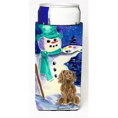 Artist Snowman With Boykin Spaniel Michelob Ultra bottle sleeves For Slim Can...