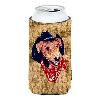Airedale Dog Country Lucky Horseshoe Tall Boy bottle sleeve Hugger 22 To 24 oz.