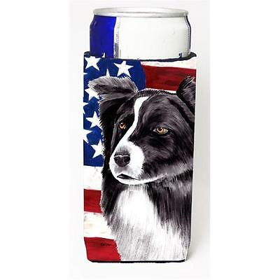 Usa American Flag With Border Collie Michelob Ultra bottle sleeves For Slim C... • AUD 47.47