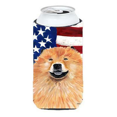 Usa American Flag With Chow Chow Tall Boy bottle sleeve Hugger 22 To 24 oz.