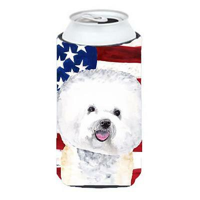 Usa American Flag With Bichon Frise Tall Boy bottle sleeve Hugger 22 To 24 oz.