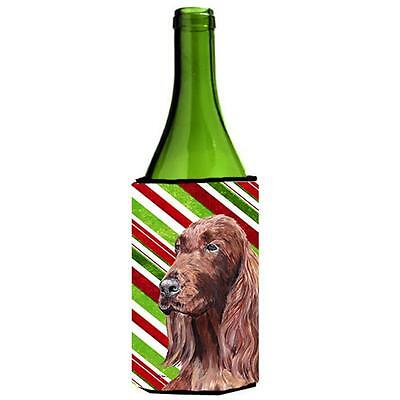 Irish Setter Candy Cane Christmas Wine bottle sleeve Hugger 24 oz.