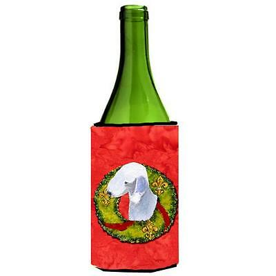 Bedlington Terrier Christmas Wreath Wine bottle sleeve Hugger 24 oz.