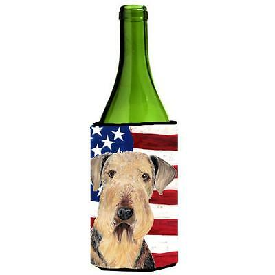 Usa American Flag With Airedale Wine bottle sleeve Hugger 24 oz.