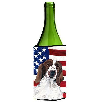 Usa American Flag With Welsh Springer Spaniel Wine bottle sleeve Hugger 24 oz.