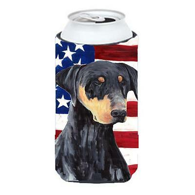 Usa American Flag With Doberman Tall Boy bottle sleeve Hugger 22 To 24 oz.