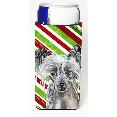 Chinese Crested Candy Cane Christmas Michelob Ultra bottle sleeves For Slim C...