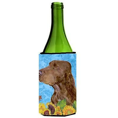 Field Spaniel In Summer Flowers Wine bottle sleeve Hugger 24 oz.