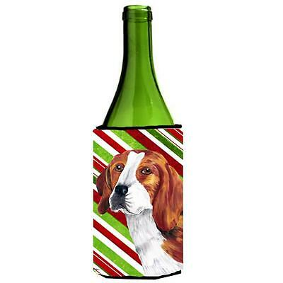 Beagle Candy Cane Holiday Christmas Wine bottle sleeve Hugger 24 oz.