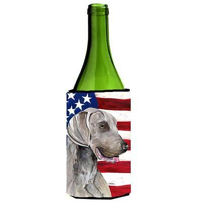 Usa American Flag With Weimaraner Wine bottle sleeve Hugger 24 oz.