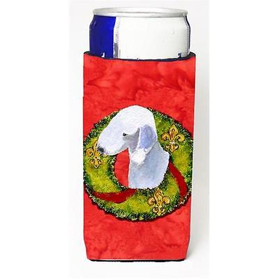 Bedlington Terrier Christmas Wreath Michelob Ultra bottle sleeves For Slim Ca...