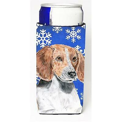 English Foxhound Blue Snowflake Winter Michelob Ultra bottle sleeves For Slim...