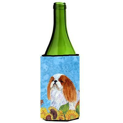 English Toy Spaniel In Summer Flowers Wine bottle sleeve Hugger 24 oz.