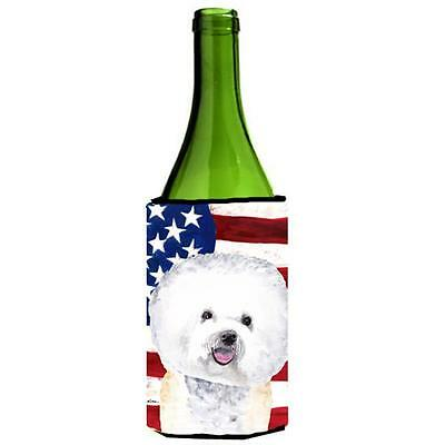 Usa American Flag With Bichon Frise Wine bottle sleeve Hugger 24 oz.