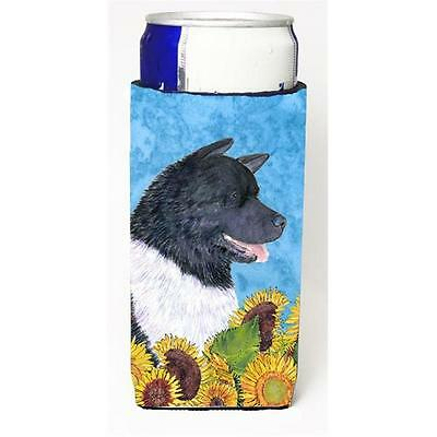 Akita In Summer Flowers Michelob Ultra bottle sleeves For Slim Cans 12 oz.