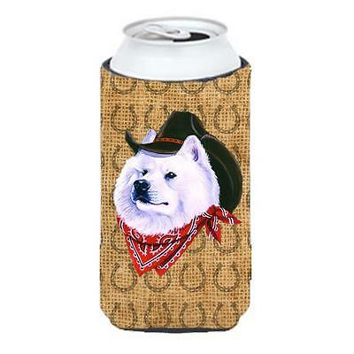 Samoyed Dog Country Lucky Horseshoe Tall Boy bottle sleeve Hugger 22 To 24 oz.