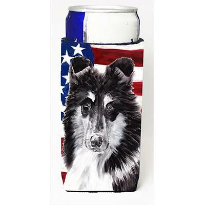 Black And White Collie With American Flag Usa Michelob Ultra bottle sleeves S...