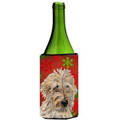 Golden Doodle 2 Red Snowflakes Holiday Wine bottle sleeve Hugger 24 Oz.