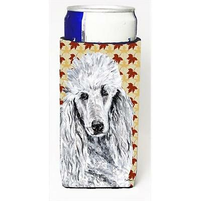 White Standard Poodle Fall Leaves Michelob Ultra bottle sleeves Slim Cans 12 Oz.