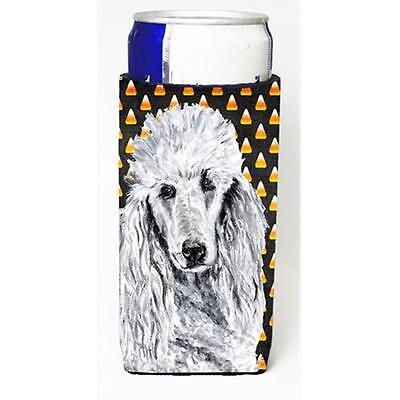 White Standard Poodle Candy Corn Halloween Michelob Ultra bottle sleeves Slim...