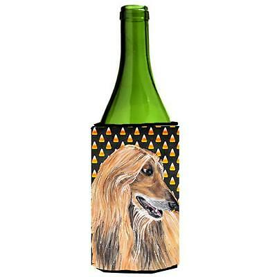 Afghan Hound Candy Corn Halloween Wine bottle sleeve Hugger 24 Oz.