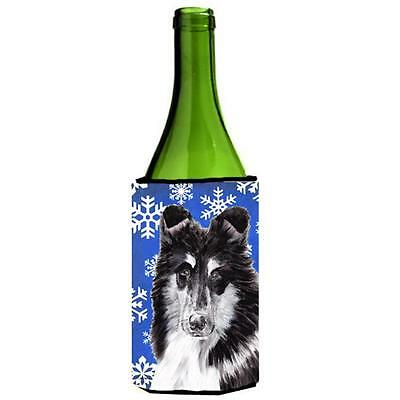 Black And White Collie Winter Snowflakes Wine bottle sleeve Hugger 24 Oz.