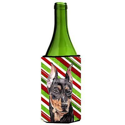German Pinscher Candy Cane Christmas Wine bottle sleeve Hugger 24 Oz.