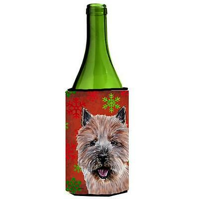 Norwich Terrier Red Snowflakes Holiday Wine bottle sleeve Hugger 24 Oz.