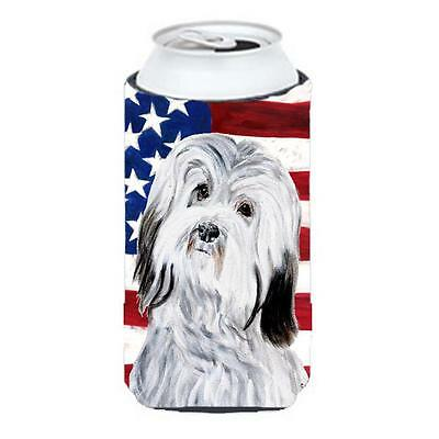 Havanese With American Flag Usa Tall Boy bottle sleeve Hugger 22 To 24 Oz.