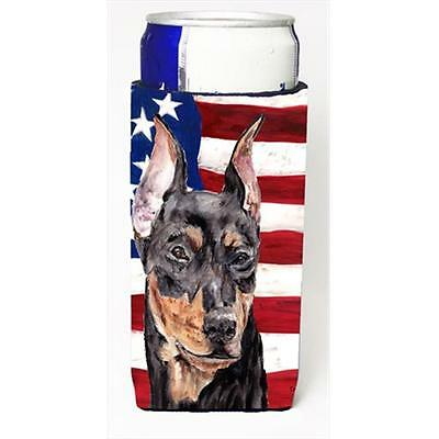 German Pinscher With American Flag Usa Michelob Ultra bottle sleeves Slim Can...