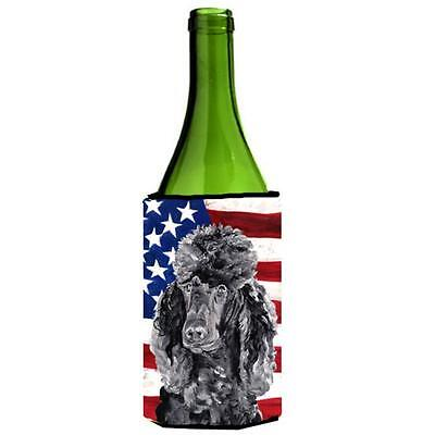 Black Standard Poodle With American Flag Usa Wine bottle sleeve Hugger 24 Oz.