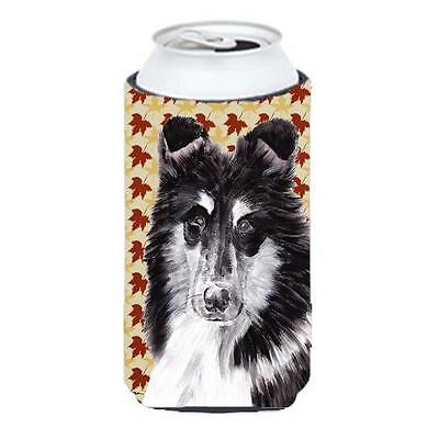 Black And White Collie Fall Leaves Tall Boy bottle sleeve Hugger 22 To 24 Oz.