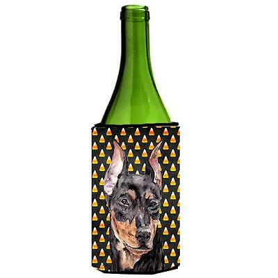 German Pinscher Candy Corn Halloween Wine bottle sleeve Hugger 24 Oz.