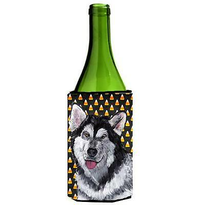 Alaskan Malamute Candy Corn Halloween Wine bottle sleeve Hugger 24 Oz.