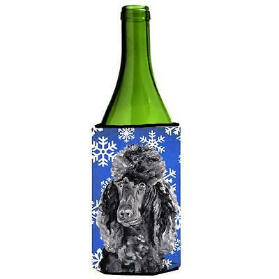 Black Standard Poodle Winter Snowflakes Wine bottle sleeve Hugger 24 Oz.