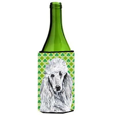 White Standard Poodle Lucky Shamrock St. Patricks Day Wine bottle sleeve Hugg...