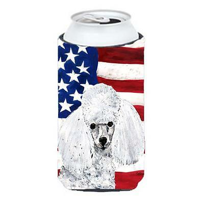 White Toy Poodle With American Flag Usa Tall Boy bottle sleeve Hugger 22 To 2...