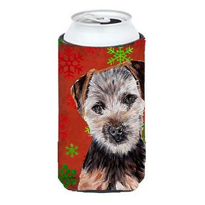 Norfolk Terrier Puppy Red Snowflakes Holiday Tall Boy bottle sleeve Hugger 22...