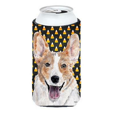 Cardigan Corgi Candy Corn Halloween Tall Boy bottle sleeve Hugger 22 To 24 Oz.