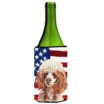 Red Miniature Poodle With American Flag Usa Wine bottle sleeve Hugger 24 Oz.