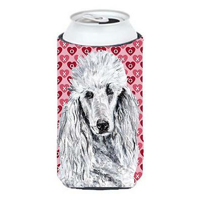 White Standard Poodle Hearts And Love Tall Boy bottle sleeve Hugger 22 To 24 Oz.