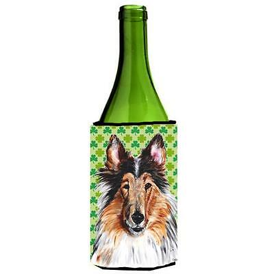 Collie Lucky Shamrock St. Patricks Day Wine bottle sleeve Hugger 24 Oz.