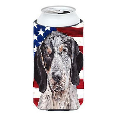Blue Tick Coonhound With American Flag Usa Tall Boy bottle sleeve Hugger 22 T...