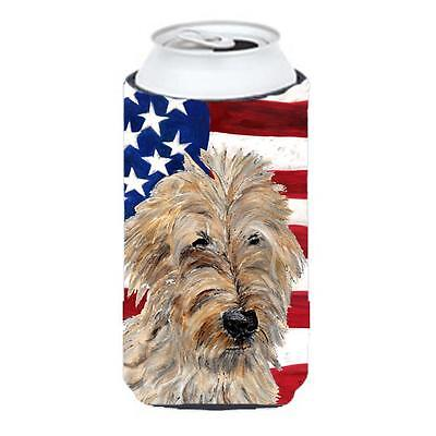 Golden Doodle 2 With American Flag Usa Tall Boy bottle sleeve Hugger 22 To 24...