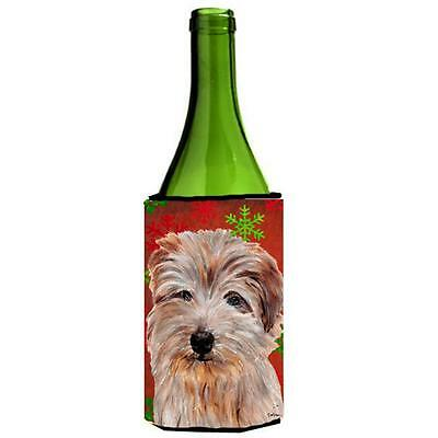Norfolk Terrier Red Snowflakes Holiday Wine bottle sleeve Hugger 24 Oz.