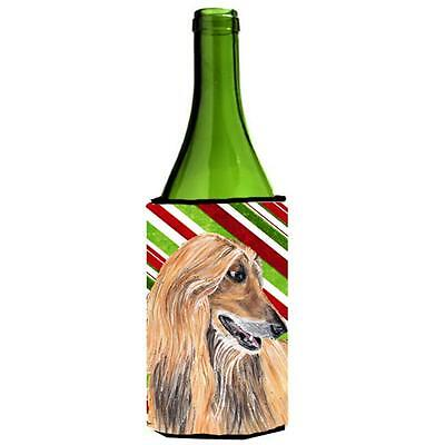 Afghan Hound Candy Cane Holiday Christmas Wine bottle sleeve Hugger 24 Oz.